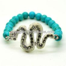 Bracelet en pierres précieuses en perles rondes turquoise 8 mm avec serpent diamant