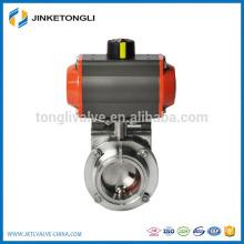Válvula de borboleta pneumática em aço inox sanitário SUS304 / 316L