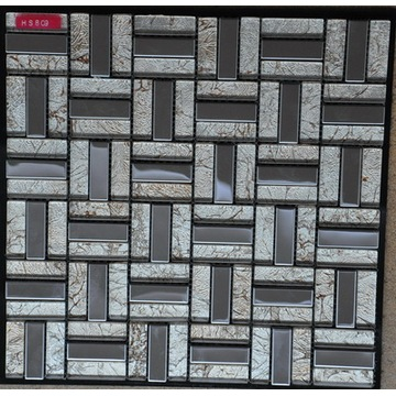 Stainless Steel And White Foil Glass Mosaic