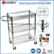3tiers Adjustable Chrome Steel Baskets Rack Trolley