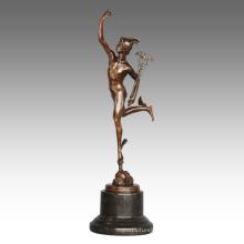 Mythology Figure Antique Statue Mercury/Hermes Bronze Sculpture TPE-798