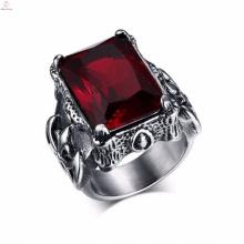 Weinlese-Diamant-Edelstahl-Schmuck-Militärhandgemachte gotische Ringe