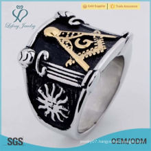 Stainless Steel Gold Black Silver Masonic Mens Ring