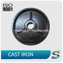 Cast iron weight lifting plates for barbell