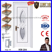 Bathroom Glass PVC Wooden Door