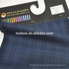 Auf Lager faltenfreier blauer Karostoff aus 50er Wolle und 50er Polyester Gewicht 265g / m