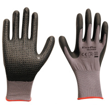15 Gauge Nylon Spandex Comfort Hand Grip Nitrile Foam Dotted Gloves EN388 4121X