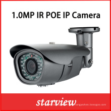 1.0MP HD IP Poe impermeable IR Bullet red CCTV cámara de seguridad