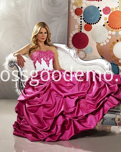 Ball Gown Sweetheart Strapless Satin Floor Length Beading Ruffled Wedding Dress