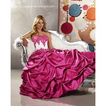 Vestido de baile Sweetheart sem alças de cetim até o chão vestido de noiva com babados