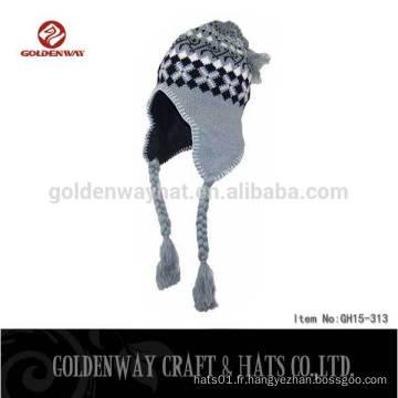 2016 100% Acrylique Custom Knit Earflap Bonnets Bonnets Chapeau hiver Bonnet chaud