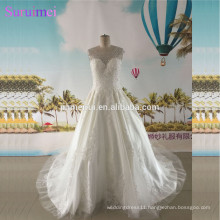 Beaded Cap Sleeves Ball Gown Wedding Dresses Sheer Illusion High Quality Tulle Backless Bride Gown