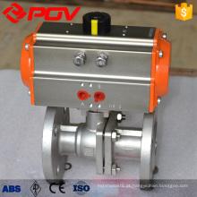DN80 flangeada válvula de esfera pneumática de aço inoxidável