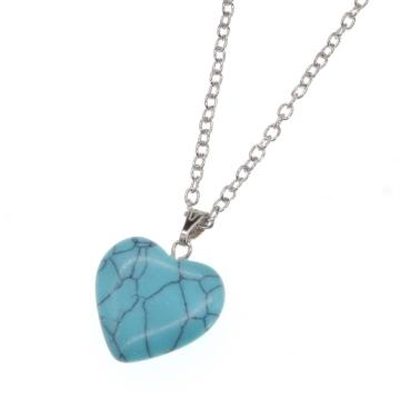 Natural Turquoise Heart Pendant Necklace 45cm Chain