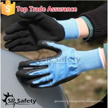 SRSAFETY высококачественные защитные перчатки / 13g синий нейлоновый вкладыш черные пена латексные перчатки / садовые перчатки / защитные перчатки