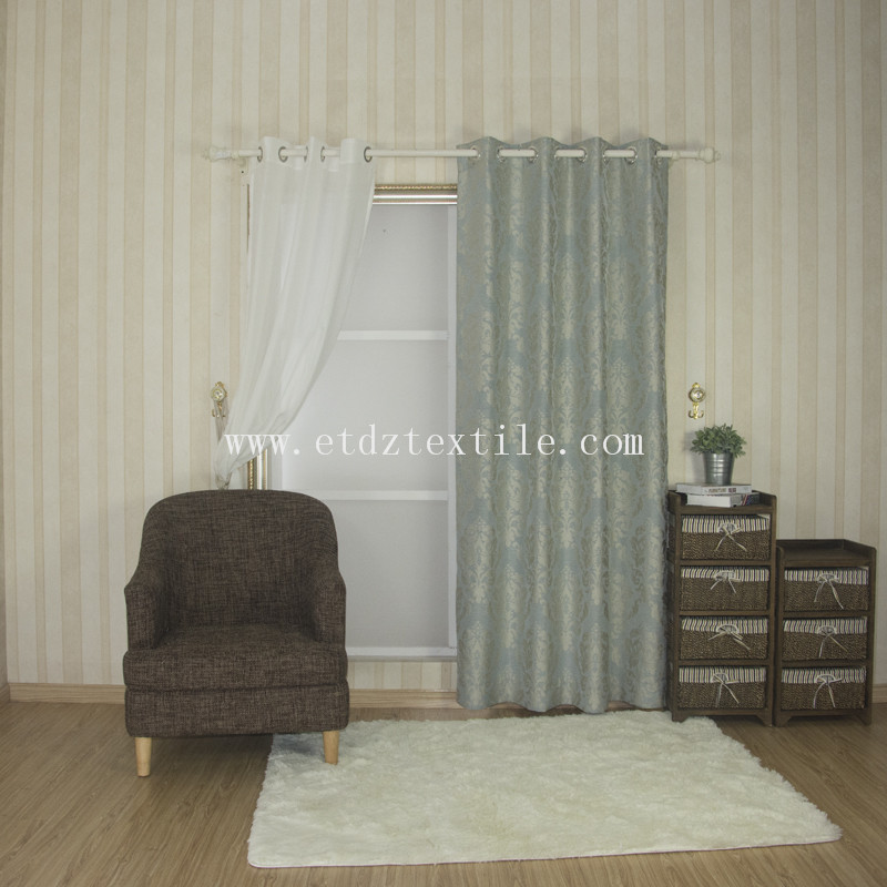 New Design Window curtain with iron gromments QZ1537A blue