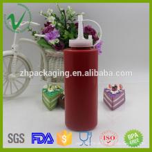 Cilindro LDPE de boca larga esvaziço vazio frasco de molhos plásticos de 300 ml