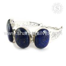 Preciosa joyería de plata de la piedra preciosa del lapislázuli 925 pulsera de plata esterlina joya de plata hecha a mano