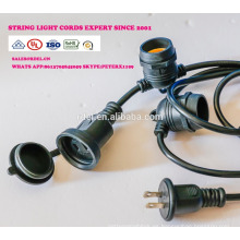 Luces para exteriores resistentes a la intemperie - Listadas por UL - 15 tomas de corriente colgantes - Luces de patio perfectas - Negro - 16 11S14 UL