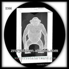 K9 3D Subsurface Orangutan Inside Crystal Rectangle