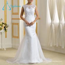 Madre sin mangas de talla grande Organza de los vestidos de encaje de la novia