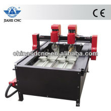 JK-4025 wood cnc router machine with two head and two rotary device for cylinder engraving