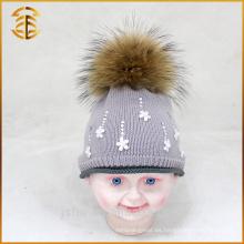 Algodón auténtico del mapache de los niños del algodón embroma la aduana del bebé Bobble el sombrero