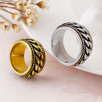 Punk из нержавеющей стали Mens Gold Chain Ring Jewelry