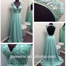 Sparkly Beaded Rhinestones Lime Green Sexy V-neck Open Back Backless Prom Dress 2016 J17