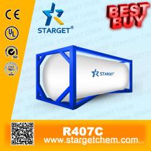 Хладагент R407c высокой чистоты лучше всего покупается в резервуаре Iso для охлаждения холодильной установки A / C