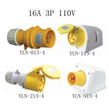 Enchufe y zócalo eléctrico amarillo de 16A 110V