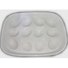 Ceramic White Egg Tray Holder-Hold 12 Tray