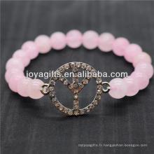 Logo Diamante Peace avec bracelet en stretch de pierre semi-précieux 8MM
