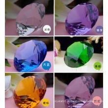 Peso de papel de cristal do diamante da decoração roxa de 40mm