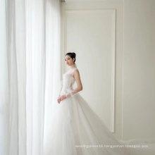 Long Gauze Sleeve Lace Beading Bridal Dress