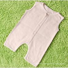 Mameluco sin mangas del bebé del algodón orgánico simple