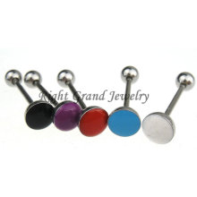6mm Epoxy Top Stainless Steel Tongue Rings