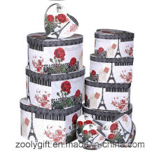 12 Sets of Flower Printing Heart Shaped Jewelry Gift Storage Box
