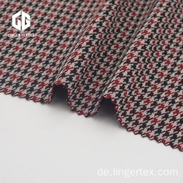 Polyester Houndstooth Jacquard Stoff mit Elasthan