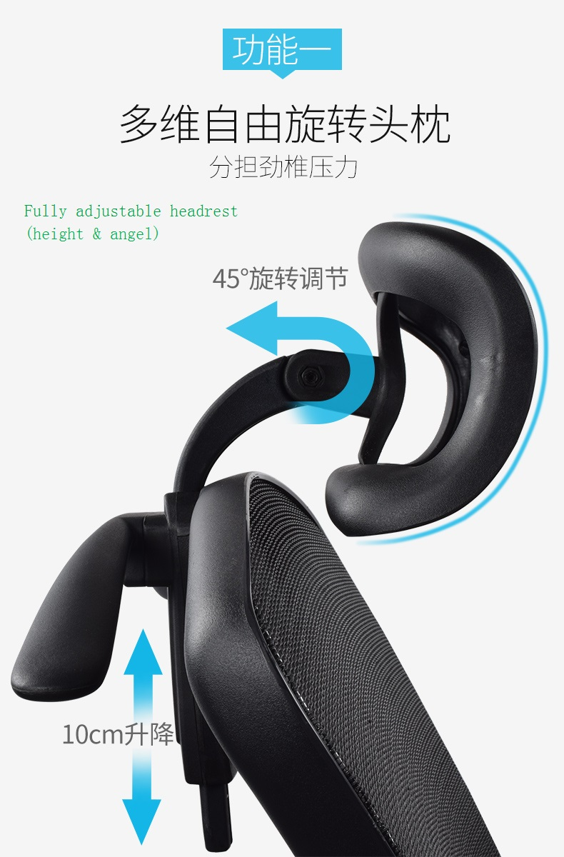 Angle adjustable of the headrest of office mesh chairs
