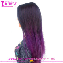 Fashion silky straight hair weave 100% virgin indian human hair ombre remy tape hair extension