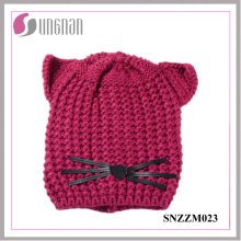 High Quality Warm Creative Cat Ear Hat Wool Knitted Helmet (SNZZM023)