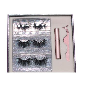 SL001H Hitomi Mink Eyelashes Custom Packaging soft natural mink eyelash Fluffy Magnetic Eyelashes with Eyeliner and tweezers