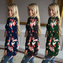 Premium polyester long fashion women long sleeve print flowers big size blouse