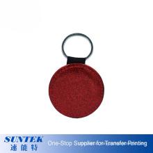 High Quality PU Leather Sublimation Keychain of Round Shape