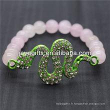 Vente en gros de pierres naturelles à quartz rose avec bracelet en serpent diamant vert
