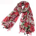 Neue Ankunft Frauen Quaste Schal rote Blumen gedruckt Schal Schal Großhandel Viskose Stoff Schal