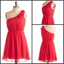 Real photo!Cute a line one shoulder handmade flower pleats coral short bridesmaid dresses brides maid dresses