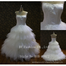 2017 Lastest Strapless sweetheart ruffle lace up back 3d flower beaded embroidered lace wedding dress