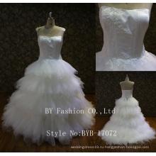 2017 мода без бретелек милая рюшами на шнуровке сзади 3D цветок вышитые бисером кружева свадебное платье